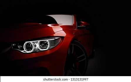 RED Sport coupe car on dark background. 3D render