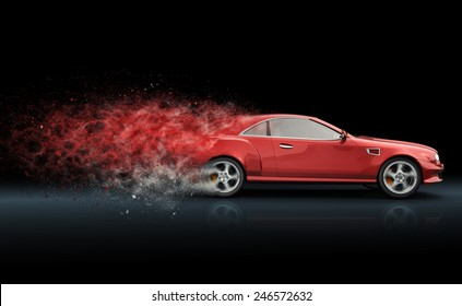 Red sport coupe with trail of dust