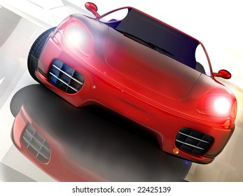 red sport and fast car over mirror; three dimensional shape