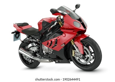 Red sport motorcycle isolated on white background. 3d render