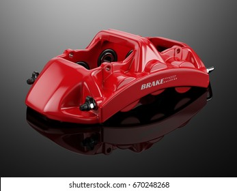 Red Sport Racing Calliper on black reflective background. 3d rendering