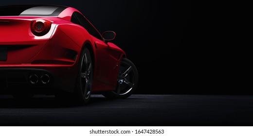 Red sportcar illustration. 3D render.