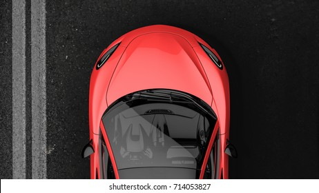Red sports car - top view 3D illustration
