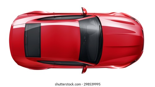 Red sporty coupe car - 3D render
