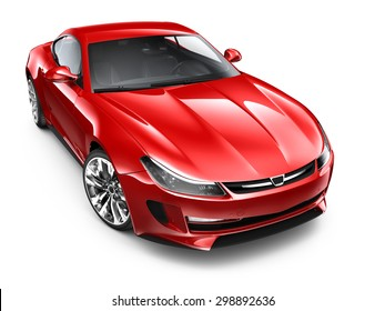 Red sporty coupe car - 3D render on white