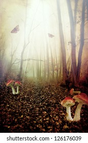 Red spotted mushrooms in a tale forest,fantasy picture
