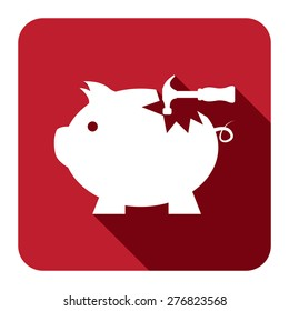 Red Square Broken Piggy Bank With Hammer Flat Long Shadow Style Icon, Label, Sticker, Sign or Banner Isolated on White Background