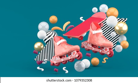 Red sroller skates and red skateboard amidst colorful balls on a green background.-3d render.