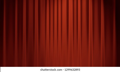 red stage backdrop curtain classic theater background 3D illustration