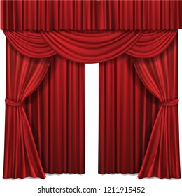 Red stage curtain realistic illustration for theater or opera scene backdrop, concert grand opening or cinema premiere. Red curtains or portiere drapes for ceremony performance design template