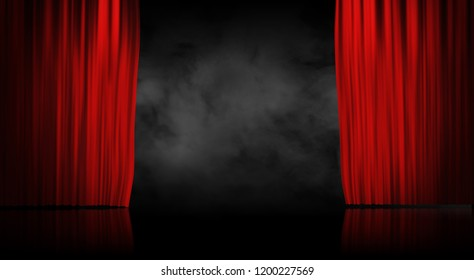 Red stage curtain with smoke background 3d illustration