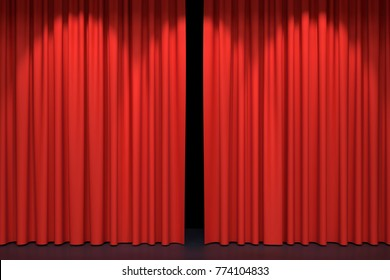 Red stage curtains begin to open. 3D illustration