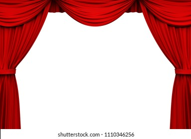 Red stage curtains isolated on white background . 3D rendering.