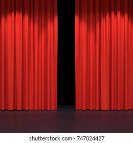 Red stage curtains. Luxury red velvet drapes, silk drapery. Realistic closed theatrical cinema curtain. Waiting for movie end, show, revealing new product, premiere, marketing concept. 3D illustration