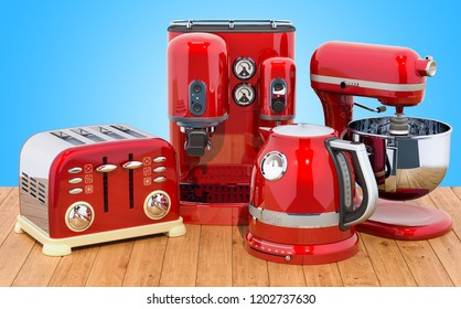 Red stainless electric tea kettle, coffeemaker, toaster, mixer. Retro design on the wooden table. 3D rendering