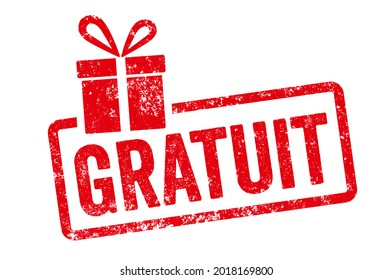 Red stamp with gift icon  - Free in french - Gratuit