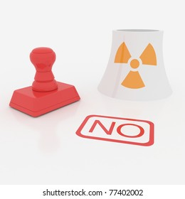 red stamp say no to atom station