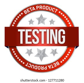 red stamp that shows the term beta testing illustration