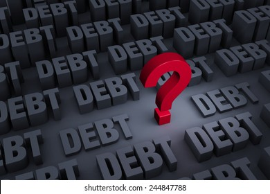 """A red """"?"""" stands out in a dark background of gray """"DEBT"""" rising up around it."""