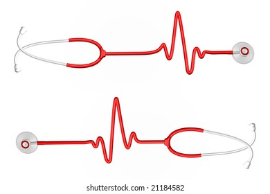 Red stethoscope in the form of EKG