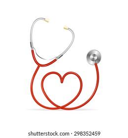 Red Stethoscope in Shape of Heart