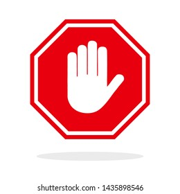 Red stop hand sign. Web icon.