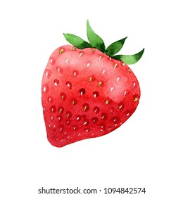 Red strawberries healthy food in a watercolor style isolated. Full name of the fruit: strawberry. Aquarelle wild fruit for background, texture, wrapper pattern or menu.
