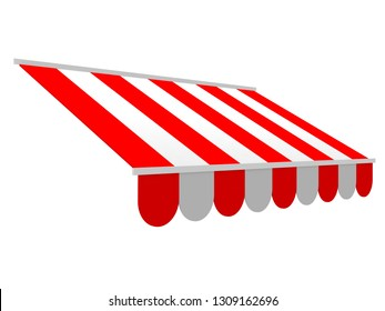 Red striped shop awning sunshade mockup for shop and restaurant. 3d render illustration