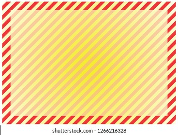 Red stripes around the perimeter of the sheet with the highlighted area for the message in the center. Modern background for cards, greetings, banners. Red, pink, yellow color.
