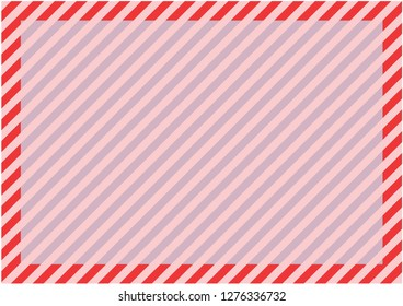 Red stripes around the perimeter of the sheet with the highlighted area for the message in the center. Modern background for cards, greetings, banners. Red, pink, blue color.