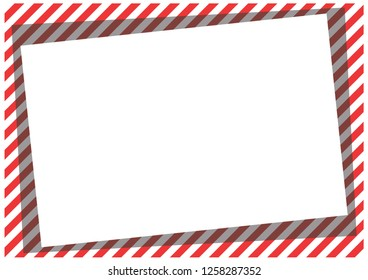Red stripes on the perimeter of the sheet with a turned center. Modern background for cards, greetings, banner. Red, white, gray.