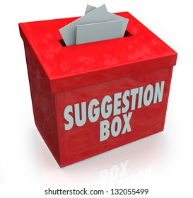A red Sugestion Box with notes of paper stuffed into its slot offering feedback, comments and constructive criticism for improvement