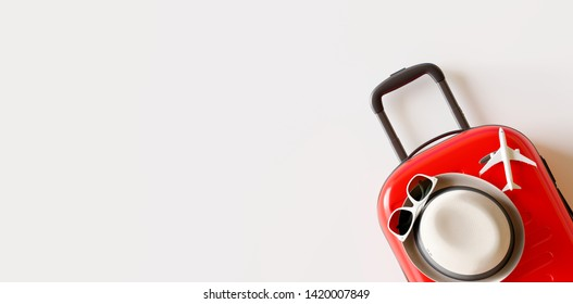Red suitcase with hat, sunglasses and plane on white bright background.travel concept. 3d rendering