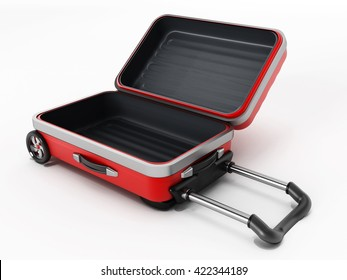 Red suitcase with open lid isolated on white background. 3D illustration.