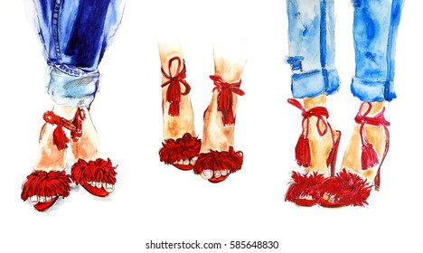 Red summer fashion shoes and blue jeans watercolor illustration, woman legs fashion sketch, art print. Three images on one on white background.