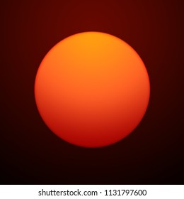 Red Sun On Background Of Brown Sky. 3D Illustration.