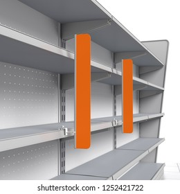Red Supermarket Shelf Stopper Attached To Set Of Shelves From Perspective View. 3D rendering