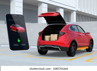 Red SUV in parking lot with opened trunk, cardboard boxes inside. Smartphone app for unlock the car trunk. Concept for car trunk delivery service. 3D rendering image.