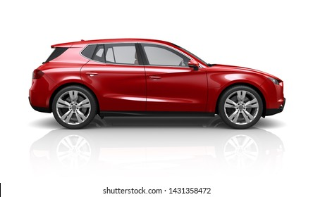 Red SUV - side view (3D illustration)