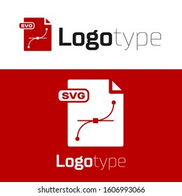 Red SVG file document. Download svg button icon isolated on white background. SVG file symbol. Logo design template element.