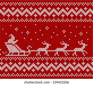 Red sweater with Santa and his deers seamless pattern