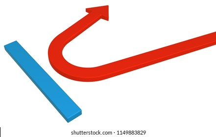 Red symbolic arrow blue barrier deflect, 3d illustration, horizontal, over white, isolated