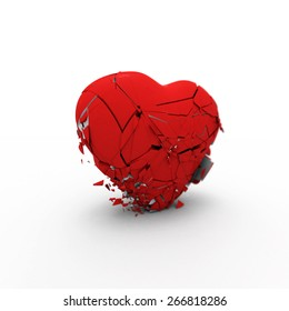 Red symbolic heart collapses under its own weight on white background