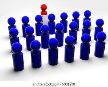 red symbolic man talking to blue people facing him
