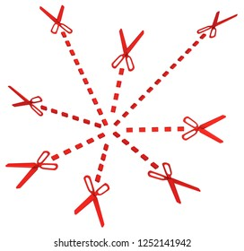 Red symbolic scissor lines cut spread from center, 3d illustration, horizontal, over white, isolated