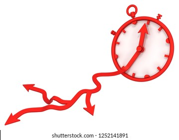 Red symbolic time arrow split three, 3d illustration, horizontal, over white, isolated