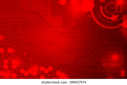 Red technology background and abstract digital tech circle.copy space.