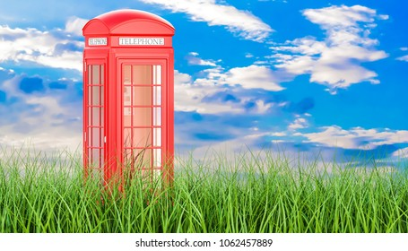 Red telephone box in green grass against blue sky, 3d rendering