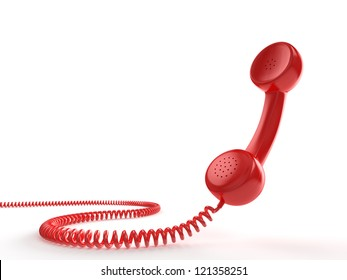 A red telephone receiver on white background. Computer generated image with clipping path.