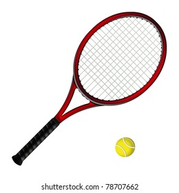 red tennis racquet